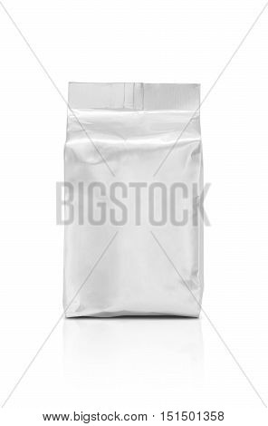 blank packaging aluminum foil pouch ready for product design isolated on white background