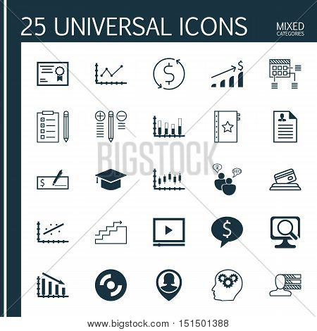 Set Of 25 Universal Icons On Credit Card, Seo Brainstorm, Blank Cd And More Topics. Vector Icon Set