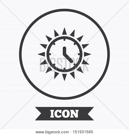 Summer time icon. Sunny day sign. Daylight saving time symbol. Graphic design element. Flat symbol in circle button. Vector