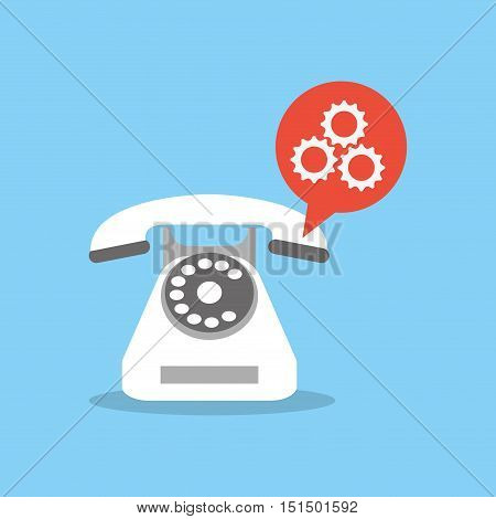 rotary phone with gears icon image vector illustration design