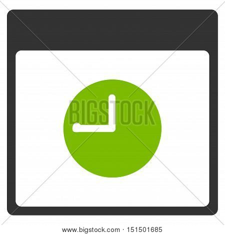 Clock Calendar Page vector pictogram. Style is flat graphic bicolor symbol, eco green and gray colors, white background.