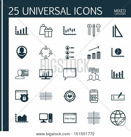 Set Of 25 Universal Icons On Collaboration, Stock Market, Bank Payment And More Topics. Vector Icon