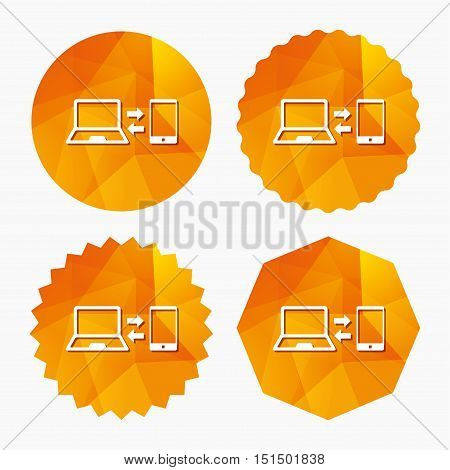 Synchronization sign icon. Notebook with smartphone sync symbol. Data exchange. Triangular low poly buttons with flat icon. Vector