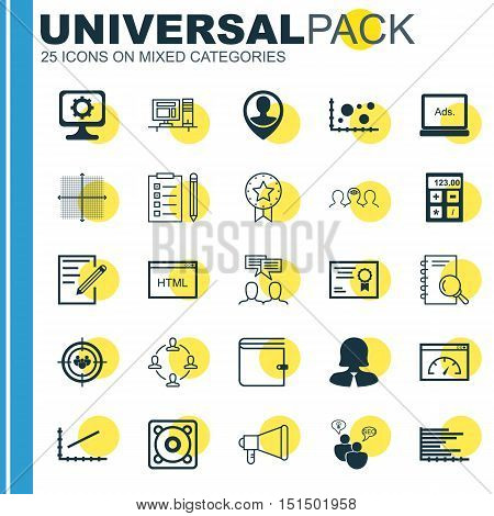 Set Of 25 Universal Icons On Line Up, Financial, Certificate And More Topics. Vector Icon Set Including Collaboration, Discussion, Line Up And Other Icons.