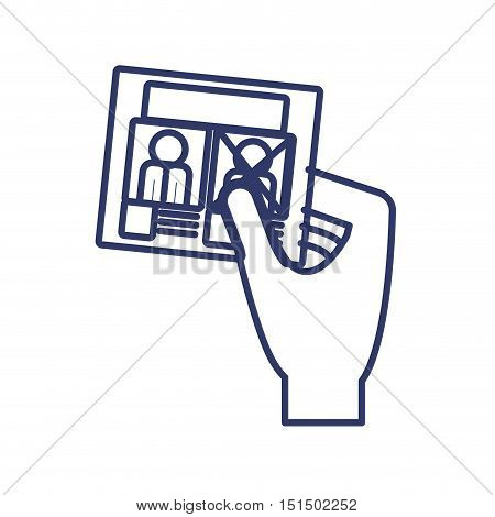 silhouette right hand with electoral card vector illustration