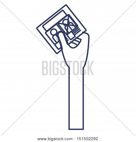 silhouette arm with electoral card vector illustration