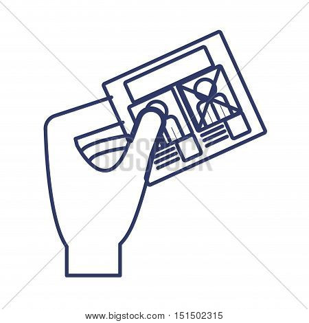silhouette left hand with electoral card vector illustration