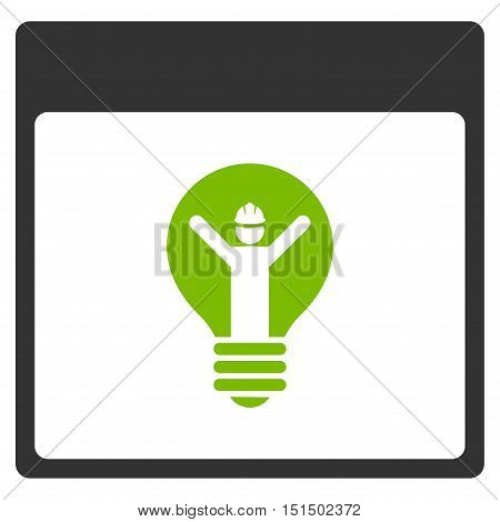 Electrician Calendar Page vector icon. Style is flat graphic bicolor symbol, eco green and gray colors, white background.