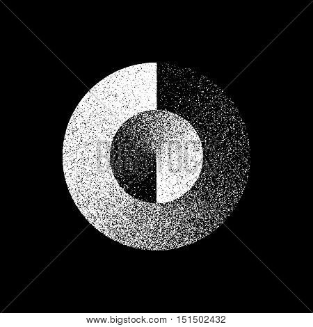 White abstract geometric shape, circle badge with film grain, noise, dotwork, grunge texture and black background for logo, design concepts, posters, banners, web, prints. Vector illustration.