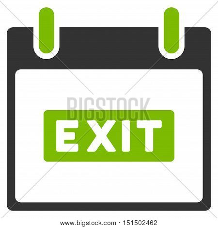 Exit Caption Calendar Day vector icon. Style is flat graphic bicolor symbol, eco green and gray colors, white background.
