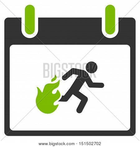 Fire Evacuation Man Calendar Day vector icon. Style is flat graphic bicolor symbol, eco green and gray colors, white background.