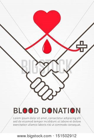 Blood Donation Handshake vector illustration with red heart and sample text.