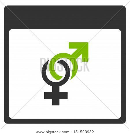 Marriage Calendar Page vector pictogram. Style is flat graphic bicolor symbol, eco green and gray colors, white background.