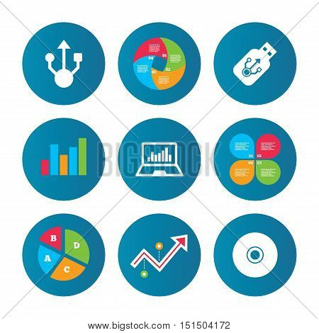 Business pie chart. Growth curve. Presentation buttons. Usb flash drive icons. Notebook or Laptop pc symbols. CD or DVD sign. Compact disc. Data analysis. Vector