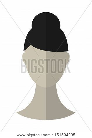 Flat icon hairstyle and brunette. Hair wig. Vector illustration