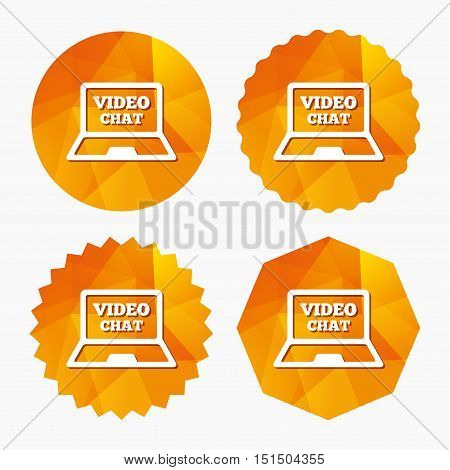 Video chat laptop sign icon. Web communication symbol. Website video talk. Triangular low poly buttons with flat icon. Vector