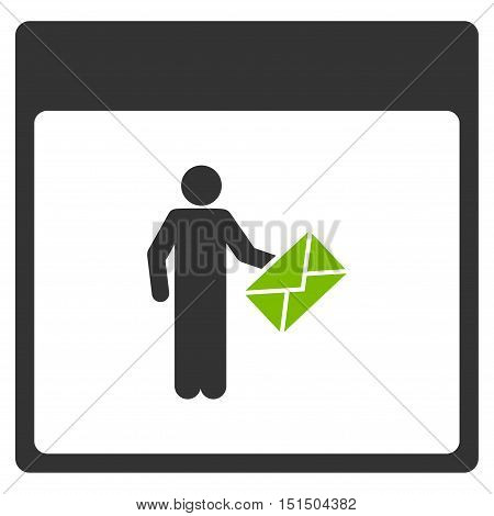 Postman Calendar Page vector icon. Style is flat graphic bicolor symbol, eco green and gray colors, white background.