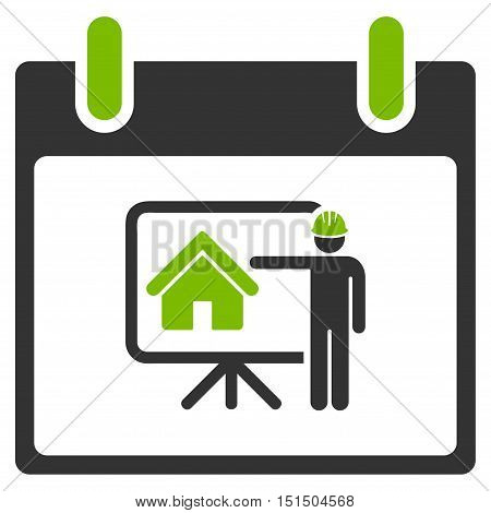 Realty Developer Calendar Day vector pictograph. Style is flat graphic bicolor symbol, eco green and gray colors, white background.