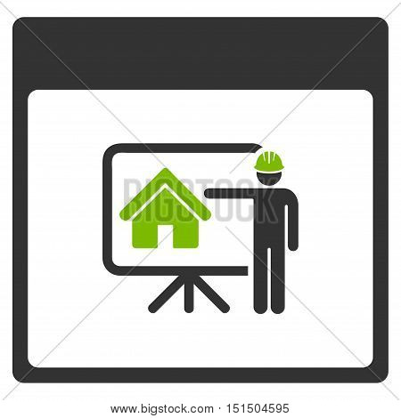 Realty Developer Calendar Page vector icon. Style is flat graphic bicolor symbol, eco green and gray colors, white background.