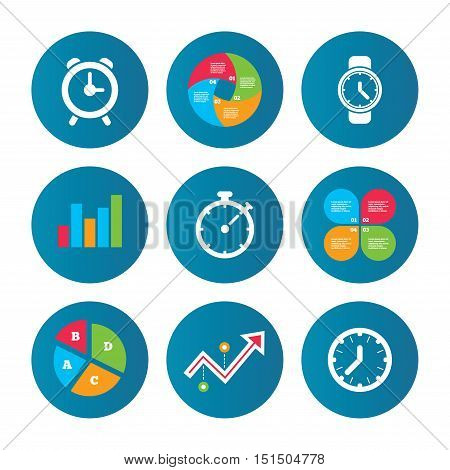 Business pie chart. Growth curve. Presentation buttons. Mechanical clock time icons. Stopwatch timer symbol. Wake up alarm sign. Data analysis. Vector