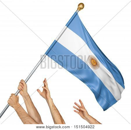 Team of peoples hands raising the Argentina national flag, 3D rendering isolated on white background