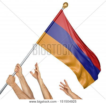 Team of peoples hands raising the Armenia national flag, 3D rendering isolated on white background
