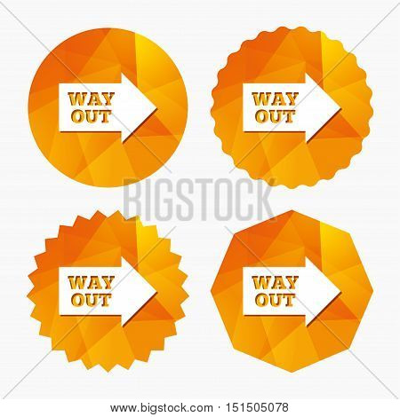 Way out right sign icon. Arrow symbol. Triangular low poly buttons with flat icon. Vector