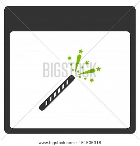 Sparkler Firecracker Calendar Page vector pictogram. Style is flat graphic bicolor symbol, eco green and gray colors, white background.