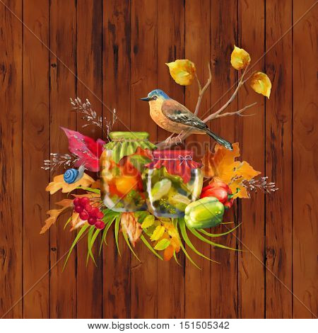 Autumn composition with homemade preserves, tree branch, bird, fall leaves, pepper, snail on wooden background. Watercolor painting with paper texture, drips, paint smudges