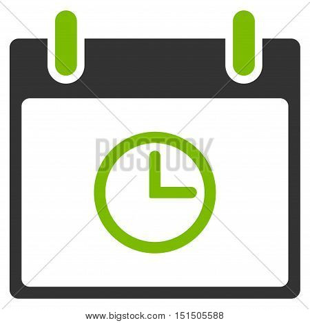 Time Calendar Day vector pictogram. Style is flat graphic bicolor symbol, eco green and gray colors, white background.