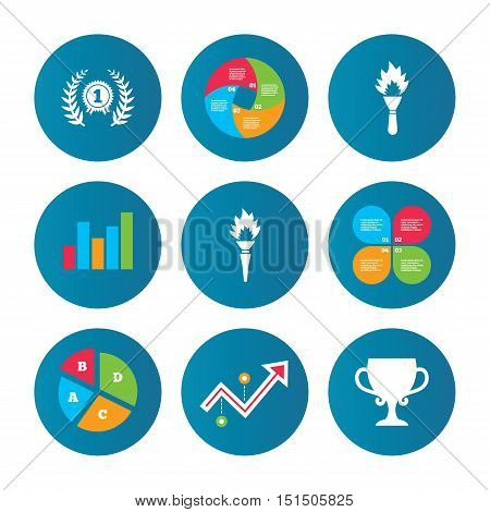 Business pie chart. Growth curve. Presentation buttons. First place award cup icons. Laurel wreath sign. Torch fire flame symbol. Prize for winner. Data analysis. Vector