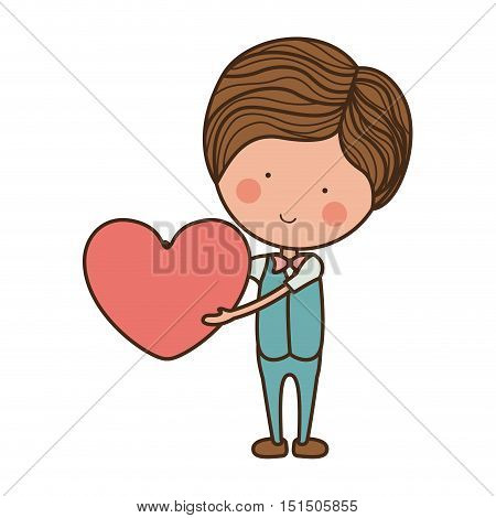 man formal suit holding heart vector illustration