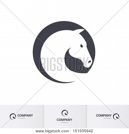 Stylized White Horse Head in Circle for Mascot Logo Template