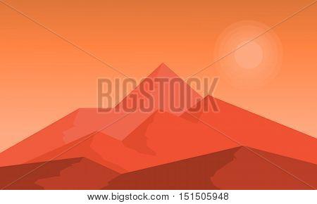 At sunset hight mountain landscape vector flat illustration
