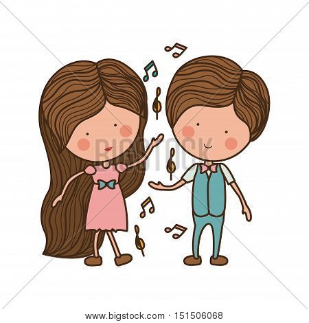 couple dancing with musical notes vector illustration