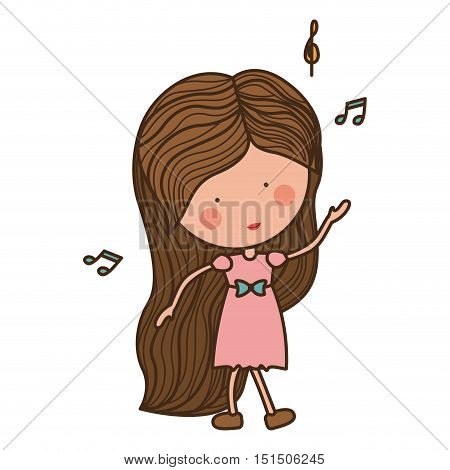 woman dancing with musical notes vector illustration