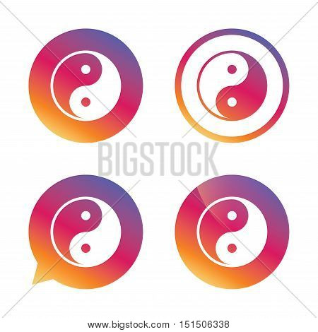 Ying yang sign icon. Harmony and balance symbol. Gradient buttons with flat icon. Speech bubble sign. Vector