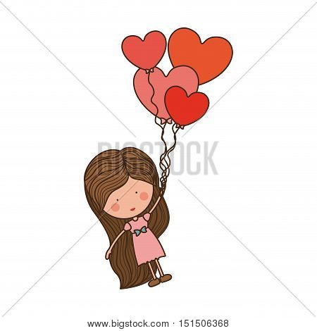 girl dragged by heart-shaped balloons vector illustration