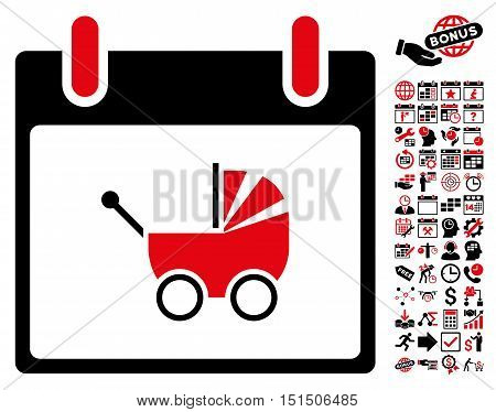 Baby Carriage Calendar Day icon with bonus calendar and time management graphic icons. Vector illustration style is flat iconic symbols, intensive red and black, white background.