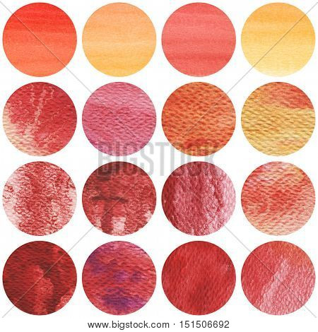 Watercolor circles collection in red and yellow colors. Watercolor stains set isolated on white background.