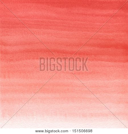 Abstract watercolor hand painted background. Gradient from red to white color.
