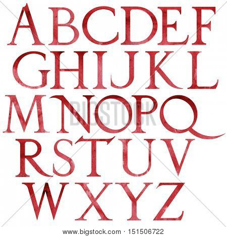 Classical red watercolor font based on Renaissance sketch. Vintage architectural letters isolated on white background.