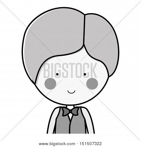 half body silhouette groom with formal suit vector illustration