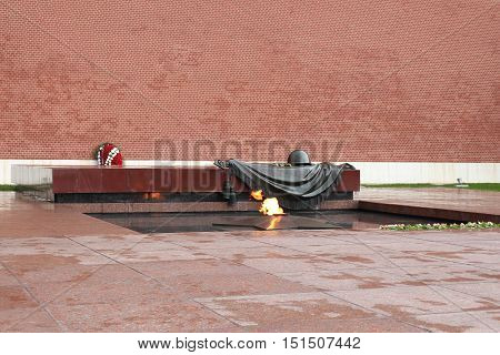 The Eternal Flame in Moscow at the tomb of the Unknown Soldier