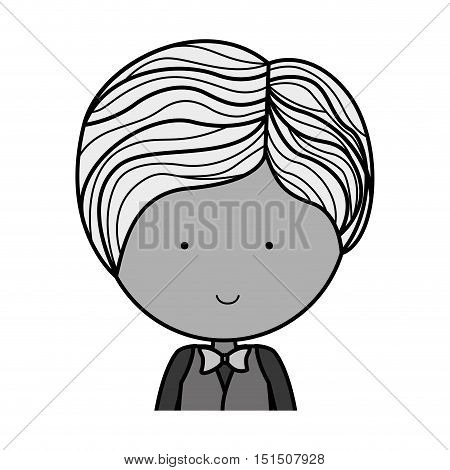 half body monochrome groom with formal suit vector illustration
