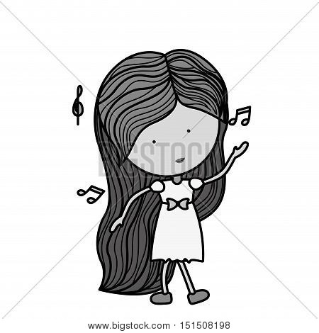 silhouette woman dancing with musical notes vector illustration