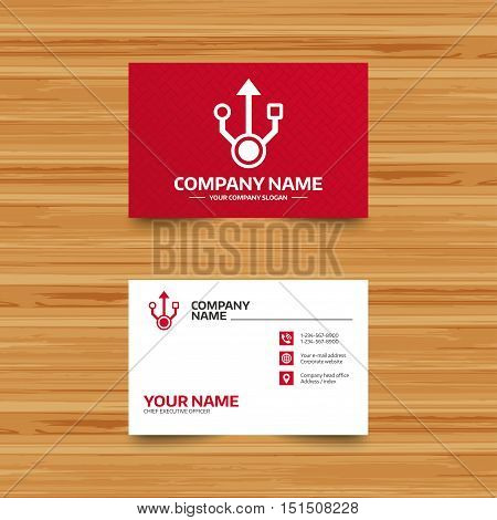 Business card template. Usb sign icon. Usb flash drive symbol. Phone, globe and pointer icons. Visiting card design. Vector