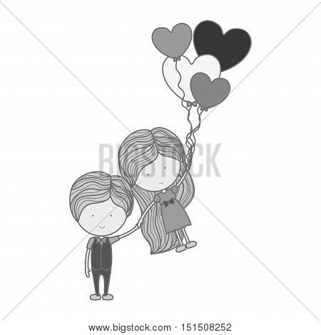 monochrome silhouette man holding girl floating with heart-shaped balloons vector illustration
