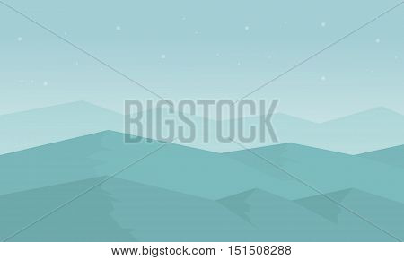 Silhouette of hill with fog scenery vector flat