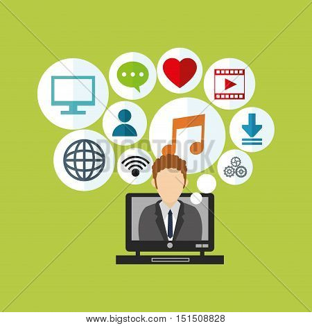 computer and user avatar with socia media related icons image vector illustration design